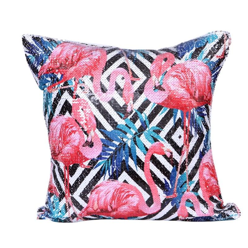 Urijk 1PC Flamingo Sequin Cushion Cover 45*45 CM Pillow Decor Mermaid Home Decor For Sofa Car Pillowcase INS Style Drop Ship