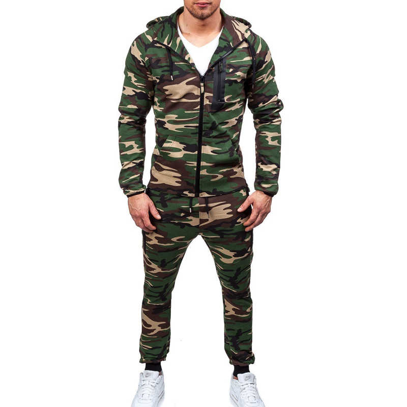 ZOGAA 2019 Herfst en Winter Explosie Modellen Jonge Mode Camouflage Suits Trainingspakken Hooded Grote Size Trainingspakken