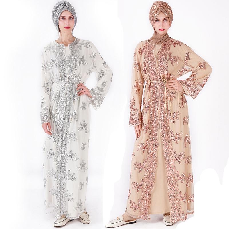 Sequin Abaya Kimono Turkish Hijab Muslim Dress Robe Dubai Kaftan Abayas For Women Caftan Turkey Islamic Clothing Djelaba Femme