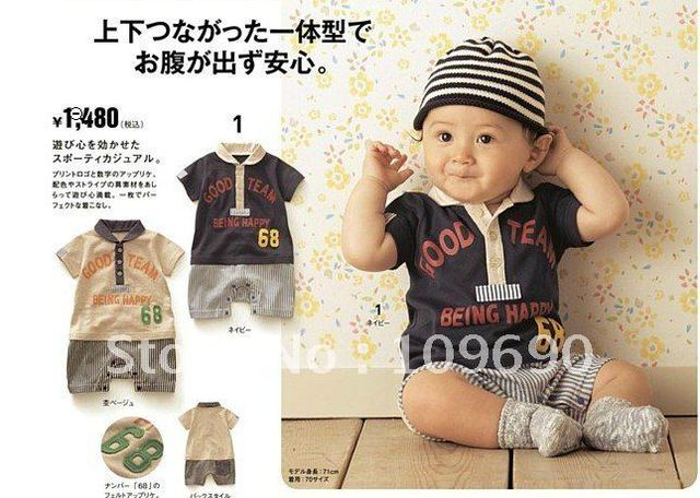 FREE SHIPPING! New Arrivals!6pcs/lot hot sale gentle Teddies,baby boys Jumpsuits