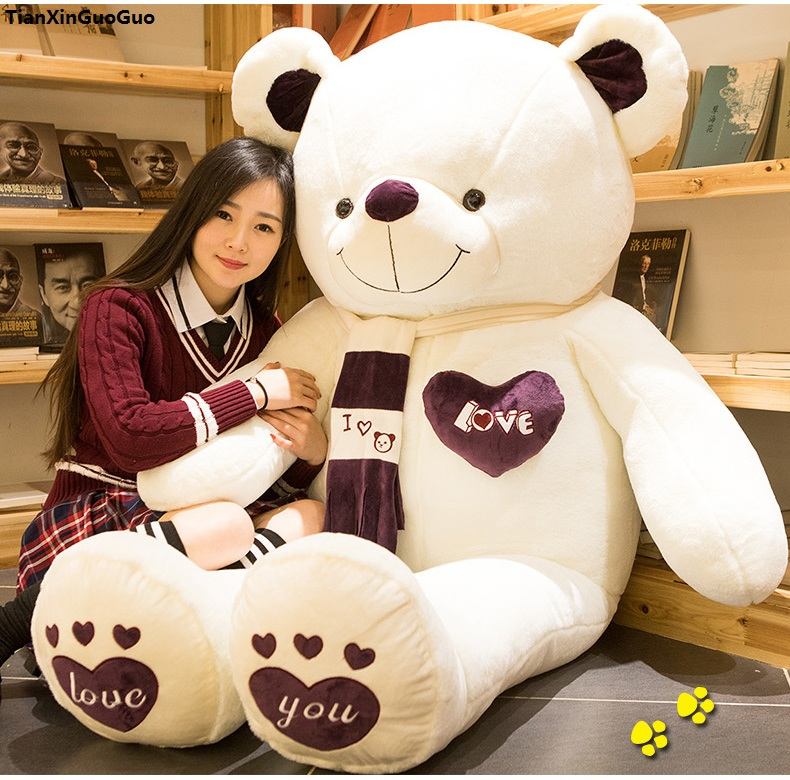 stuffed fillings toy huge 180cm love you teddy bear plush toy scarf love bear soft doll hugging pillow toy birthday gift s1011 stuffed toy lovely scarf teddy bear plush toy huge size 170cm dark brown bear hugging pillow surprised christmas gift h448