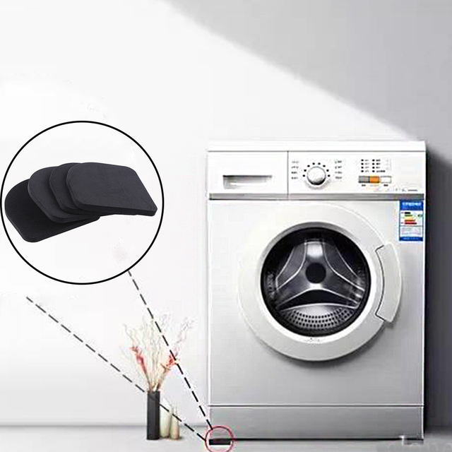 4 adet/grup Siyah Çok Fonksiyonlu Anti Titreşim Mat Buzdolabı Için Anti-titreşim Gürültü Şok Pedleri Banyo Aksesuarları