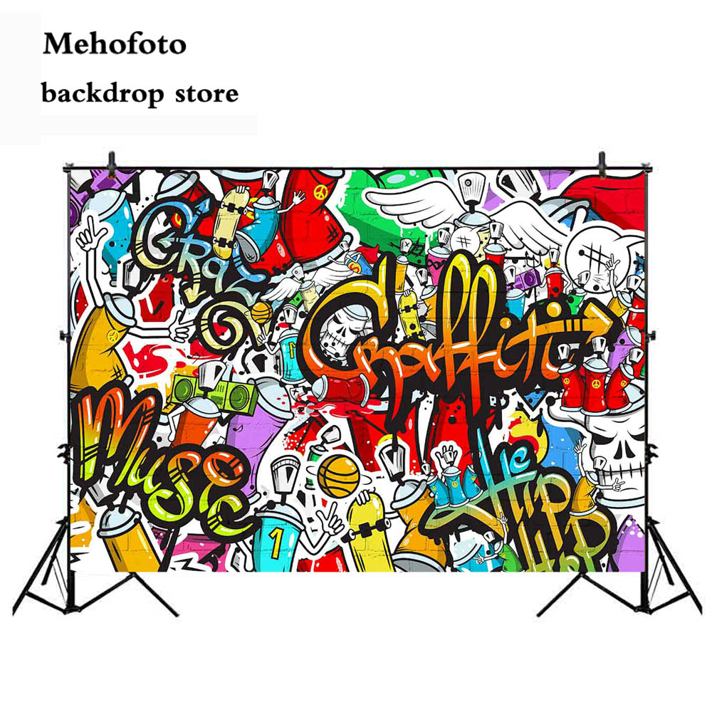 Mehofoto Music Hip-Hop Birthday Party Graffiti Party Photo Background We Love The 90s Party Banner Decoration Supplies 187 image