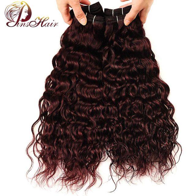 Pinshair Dark Red Hair 4 Bundles Water Wave Burgundy Bundles 99j