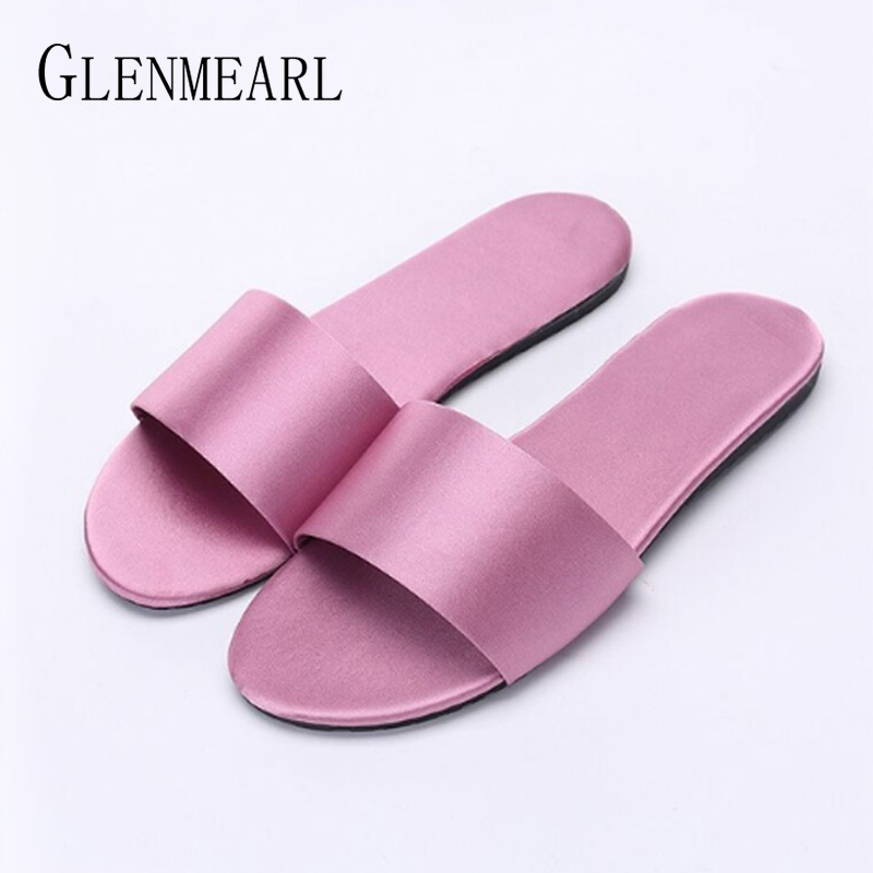 Women Slippers Indoor Shoes Flat Home Slippers Summer Shoes Silk Home Flip Flops Casual Shoes Flat Sandals Female Sliders 2018DE contrast bow flat sliders