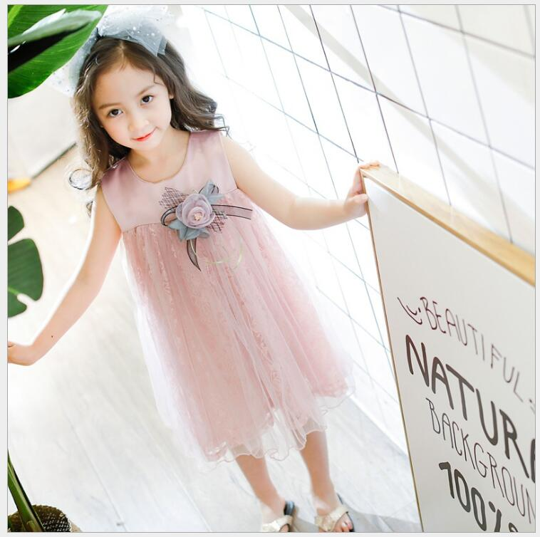 girls summer 3D floral princess dress Baby girl tulle dress for baptism birthday party lush dresses clothes for a girl high quality girls pink wedding dresses lace party tulle princess birthday dress for baby girl clothes vestidos infantis