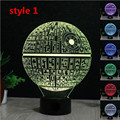 Luxo Star Wars Death Star 3D Miniaturas Interruptor de Toque Lâmpada de Mesa Mesa De Luz Da Noite LEVOU Luzes Da Noite de Decoração Para Casa Artesanato