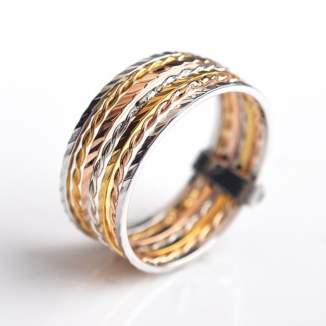 USTAR Brand 7pcs/set Rings for women Carving Rose Gold color wedding rings female Anel aneis Bijoux Christmas gift