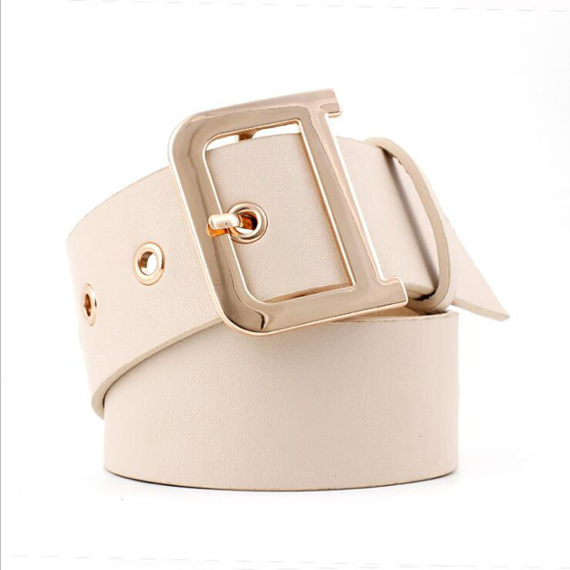New 105x4.8cm female fashion casual gold rivet wide   Belts   for women jeans Beige waistbands Women's black leather straps ceinture