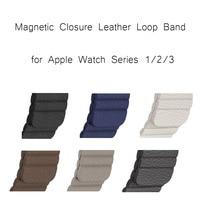 7 Colors Magnetic Closure Bracelet Watchband For Apple Watch Series 1 2 3 Genuine Leather Loop