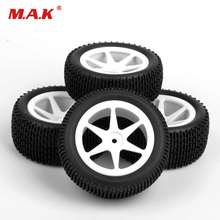 4pcs/set 12mm hex buggy tires front&rear rubber tyre wheel rim 25034+27013 fit for RC 1:10 off-road car toys accessories