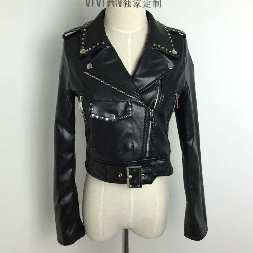 Wholesale England style Locomotive style pu   leather   jacket female was thin slim retro jacket ins fashion jackets wq1727 factory