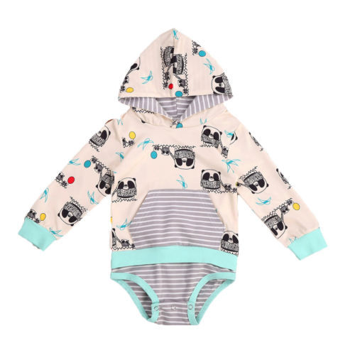 565909d98 Cartoon kid baby romepr Newborn cute Panda pattern Baby Boy Girl ...