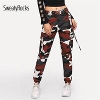SweatyRocks Camo Print Pocket Side Belted Pants Streetwear Fashion Tapered Sweatpants 2019 Spring Women Casual Camouflage Pants