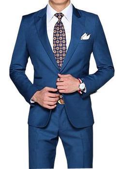 New Arrival Straight Blue Men Tuxedos Peaked Lapel Wedding Suits For Men 2 Pieces Men Suits Slim Fit For Wedding men Suits