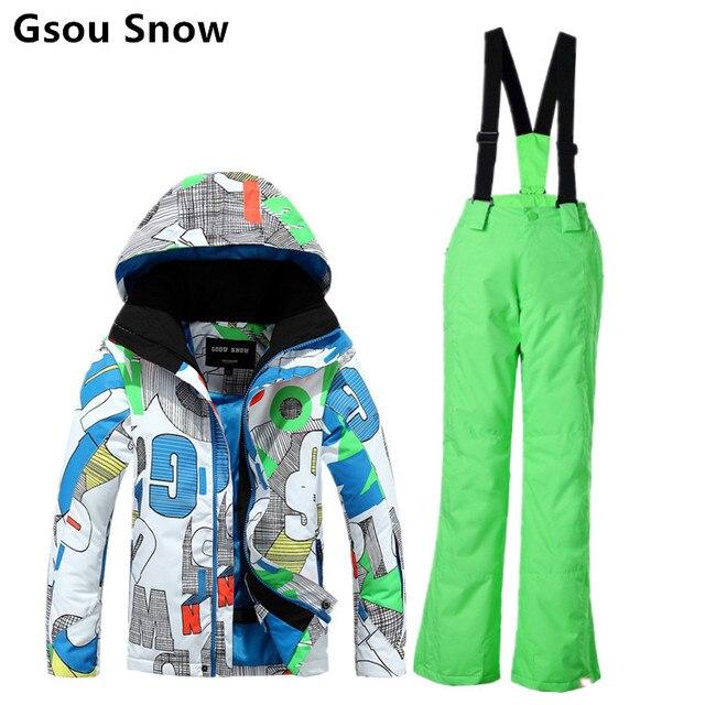 Top-Mode tolle Auswahl beste Wahl Kinder skianzug jungen skateboard anzug männliche kind snowboard-anzug  jungen mehrfarbige buchstaben ski jacke und grün skihose