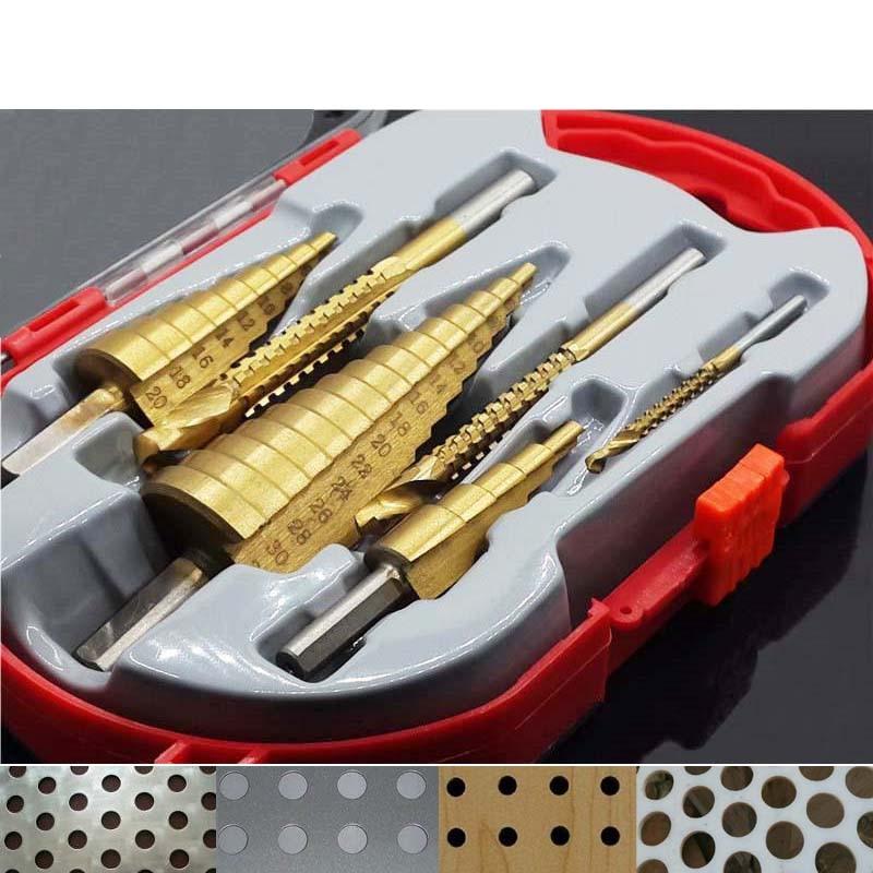 Набор быстрорежущих стальных титановых ступенчатых сверл 4-12/20/32 мм, резак для отверстий в металле, инструмент для сверления отверстий в КОН...