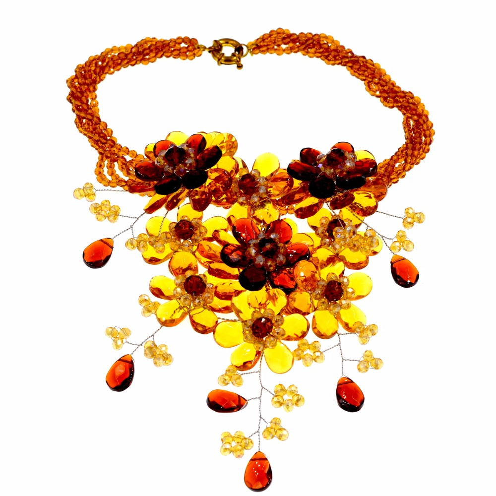 2017 new Arrival Fashion Trendy yellow brown crystal flower chokers necklace for womens аксессуар заспинный колчан bowmaster tento ref yellow brown 277