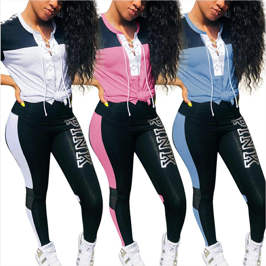 Casual Outfit Pants Sweatshirt Tracksuit Pink Letters Print Two-Piece Plus-Size Women