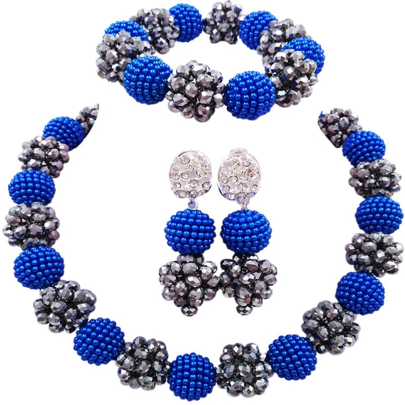 Strong National Flavor Royal Blue Silver Plated African Wedding Jewellery Sets for Women 1C-SJZZ-27 2016 cross shape rhinestone hollow out silver plated jewellery sets stylish indian wholesale fashionable jewellery sets