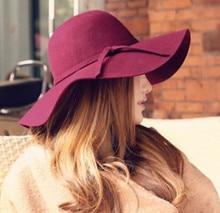 Autumn Winter Summer Fashion Fedoras Vintage Pure Women's Beach Sun Hat Female Waves Large Brim Sunbonnet Bowknot Lady Sun Hat