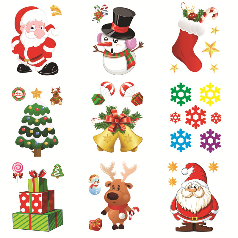 Christmas Removable Window Glass Sticker Christmas Decorations For Home Santa Snowman Navidad 2019 Natal Noel New Year 2020 Gift