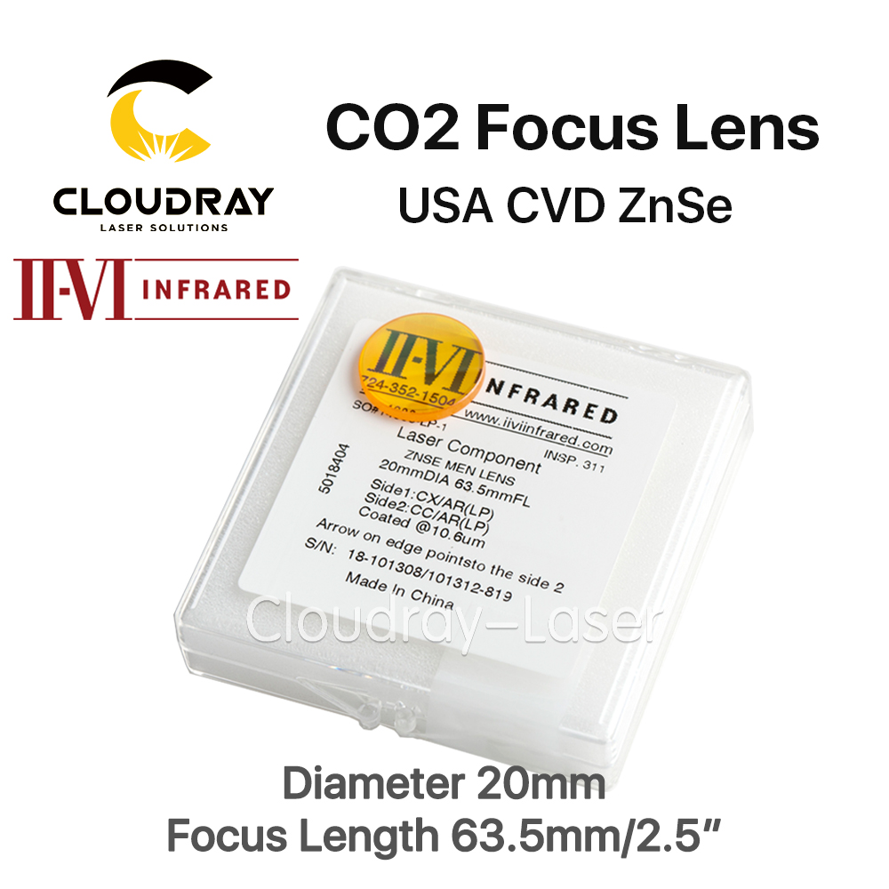 Cloudray II-VI ZnSe Focus Lens DIa. 20mm FL 63.5mm 2.5 for CO2 Laser Engraving Cutting Machine Free Shipping free shipping cn znse co2 laser focus lens diameter 18mm focal length 101 6mm for co2 laser cutting and engraving machine