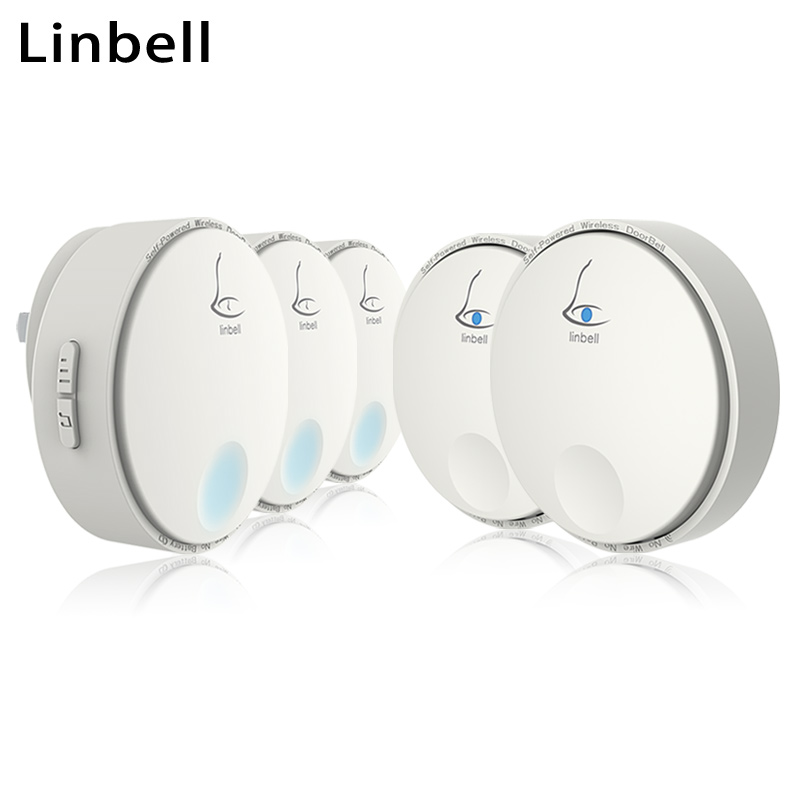 Linbell G2 wireless doorbells home no battery electronic <font><b>ding</b></font> <font><b>dong</b></font> door <font><b>bell</b></font> 2 transmitters 3 Receivers with EU/US/UK plug