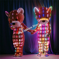 TC 165 Programmable led costumes ballroom dance robot clothes party bar lighted doll colorful color stage show wears performance