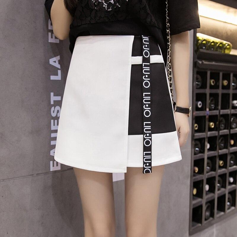 2020 College Wind High Waist Thin Color Matching Skirt Women's Skirts Ladies Kawaii Female Korean Harajuku Clothing For Women