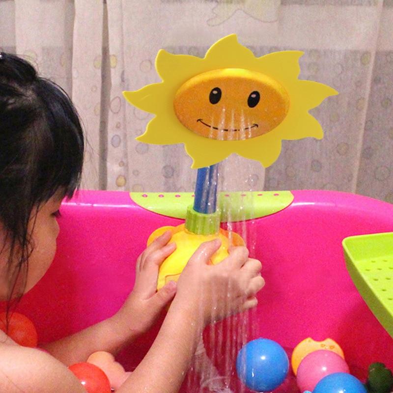 Funny Baby Bath Water Toys Sunflower Shower Spray Water Game Bath Toy Summer Bathroom Bathtub Toys Random Color