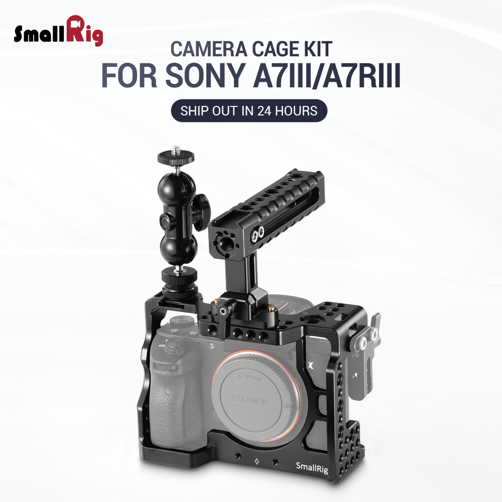 SmallRig A7M3 Camera Cage Kit for Sony A7RIII A7III Camera With Handle Grip Ballhead Clamp Upgrade
