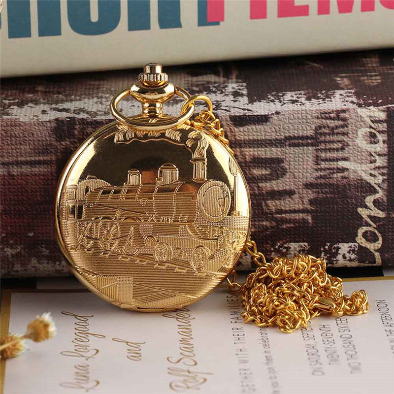 Vintage Gold Locomotive Motor Railway Train Steampunk Pocket Watch For Men Women Charming Pendant Necklace Clock Relogio Bolso vintage silver charming gold train antique pocket chain quartz men women watch necklace pendant clock gifts