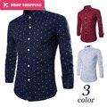 3  Colors  Camisa Masculina 2017 Men's Fashion Slim Fit Casual Shirt Long Sleeve Shirts Anchor  Printing Men Shirt, Asian Size