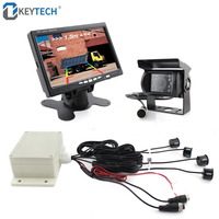 OkeyTech LCD Monitor+ Rearview Camera Car Parking Sensor Kit 4 Sensors Buzzer 22mm Visual Reverse Radar Sound Alert for Truck