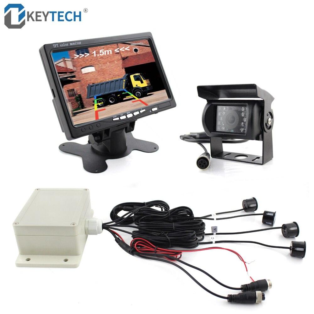 OkeyTech LCD moniteur + caméra de recul voiture Parking capteur Kit 4 capteurs Buzzer 22mm visuel Radar inverse alerte sonore pour camion