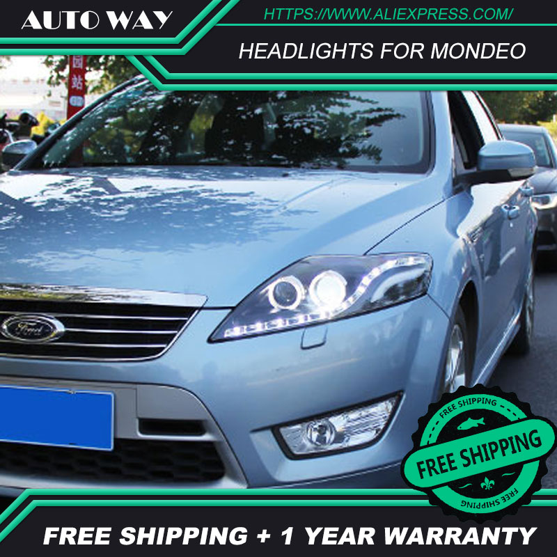 Car styling Head Lamp Case For Ford Mondeo 2007 2012 Headlight for Headlight DRL Option Angel
