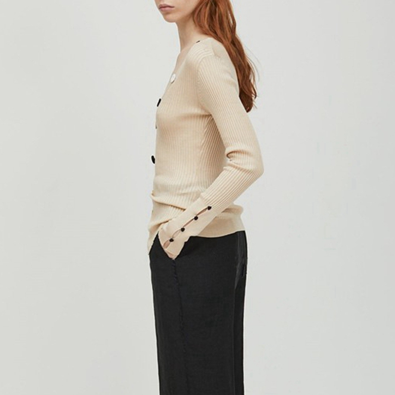 Asymmetrical Office Lady Sweater Women Autumn Jumper V Neck Knit Wear Ivory  Pullover IG Effortless Chic Slit Black Knitted Top-in Pullovers from  Women s ... 0a1eed2b22