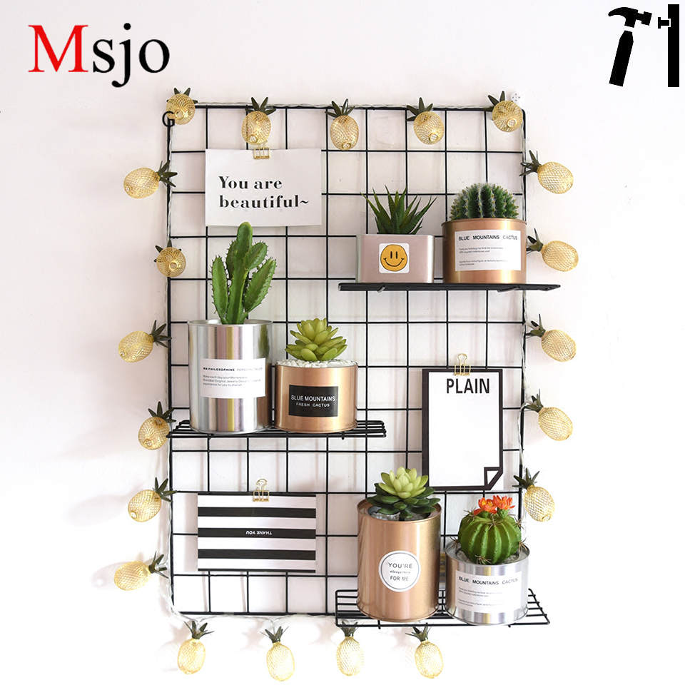 Msjo Metal Mesh Wall Decor Storage Shelf With Tray DIY Grid Wall Photos Pictures Postcard Holder Storage Rack Home Bedroom Decor