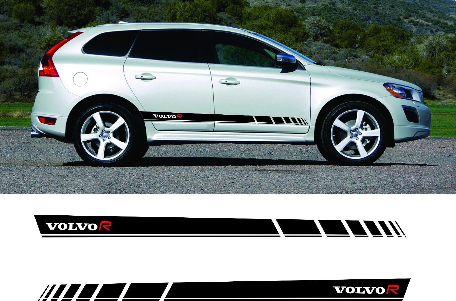 For 1set 2pcs volvo xc60 r design side stripes graphics decals stickers any colour car styling