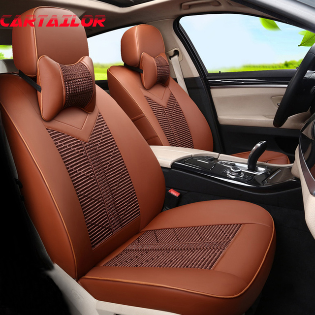 CARTAILOR Black Ice Silk Fabric Seat Covers Cars Seat Protector fit