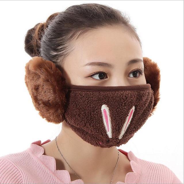 Cartoon rabbit design Ear protective mouth mask Windproof earmuff anti dust winter masks girls Anti Haze Flu cotton Face masks 4