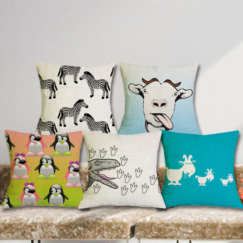 Lovely Dog Cow Cushions Linen Cushion Cover Creative Cute Animal Pillow For Living Room Bed 43X43CM