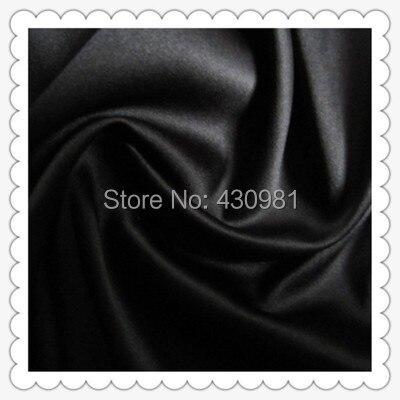 wholesale 2 meter full dull elastic satin fabric imitation silk material for one piece dress heavy black satin spandex fabric