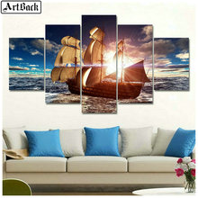 5 spelled diamond painting sailboat sunset scenery full square drill mosaic diy embroidery