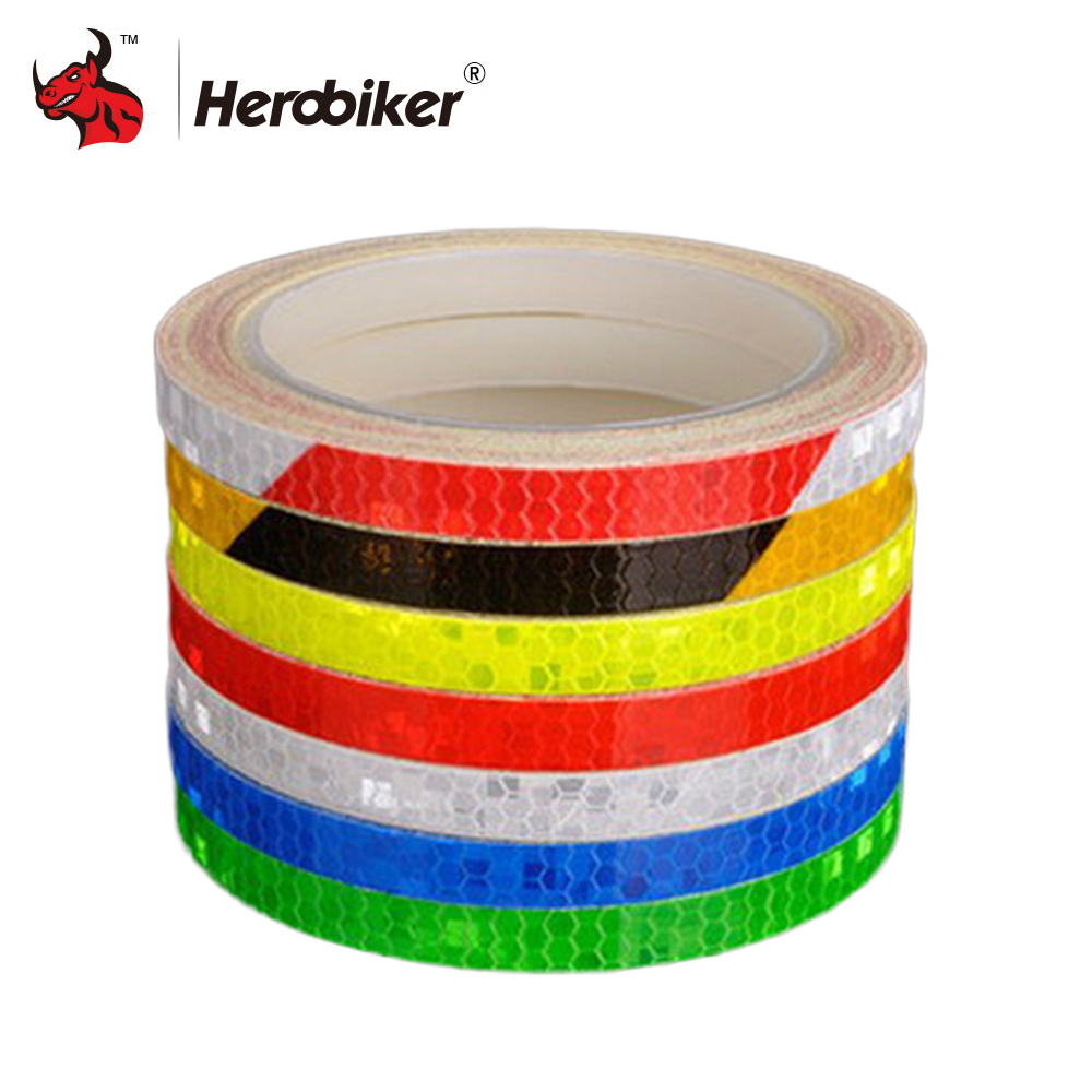 New 8mx1cm Universal Motorcycle Reflective Stickers Strips DIY Bike Car Safety Warning Reflective Tape Wheel Rim Decal Sticker 16 strips wheel sticker reflective rim stripe tape bike motorcycle car fit for 16 17 18 inch blue orange yellow green white red