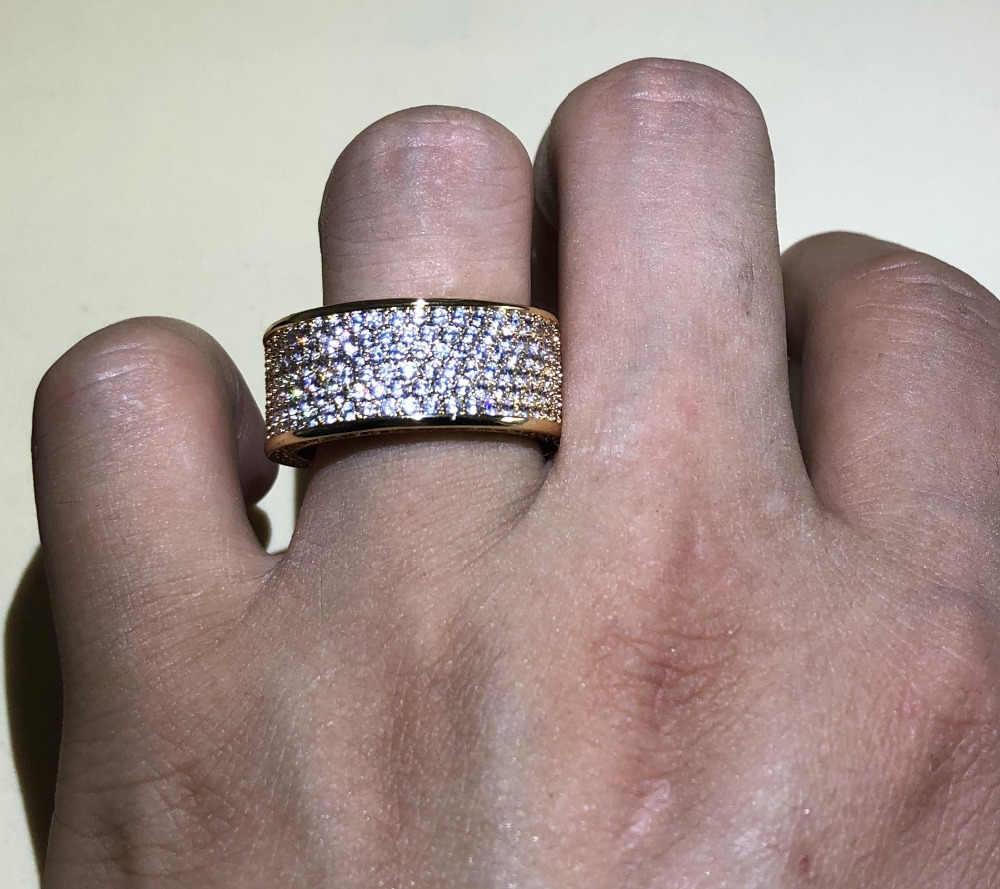 เครื่องประดับสุดหรูวรรคเงิน925อัญมณีหินแหวนนิ้วShining 320ชิ้นCZเต็มD Iamantแหวนทองสำหรับผู้หญิงผู้ชาย