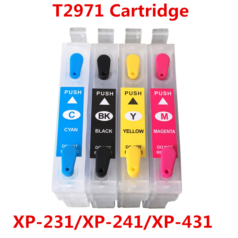 T2971 XP231 XP241 cartridge voor Epson T2971 navulbare inktcartridge voor Epson XP-431 XP-441 XP-231 met One Time Chips 4 kleuren