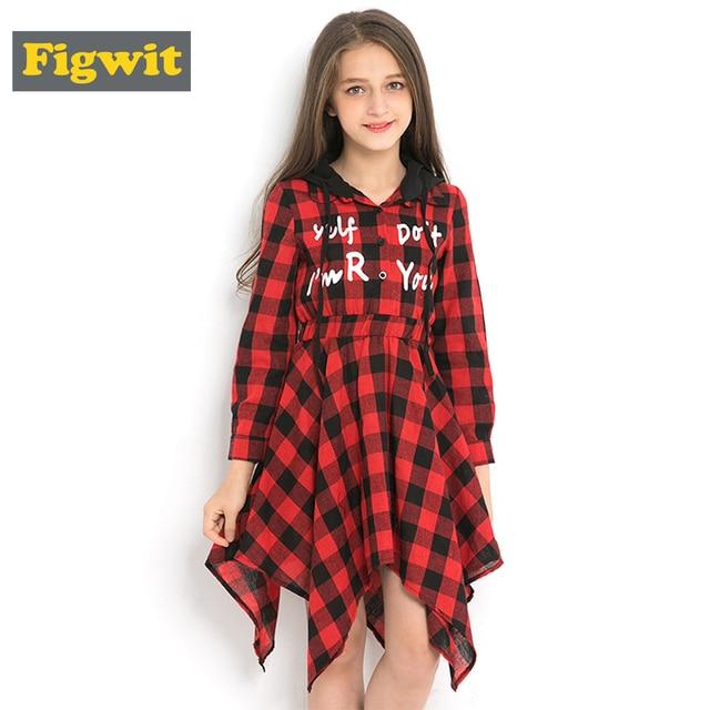 Figwit/осеннее платье-рубашка с длинными рукавами и капюшоном, красное клетчатое платье для детей-подростков 7, 9, 11, 13 лет, детская одежда, платье