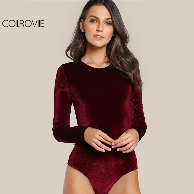 3f31ef49afd8 COLROVIE Backless Velvet Lace Bodysuit Burgundy Elegant Women Applique Long  Sleeve Bodysuit Sexy Vintage Party Bodysuit-in Bodysuits from Women's  Clothing ...